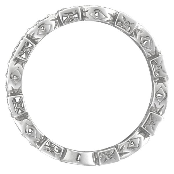 Tsavorite & Diamond Eternity Ring Anniversary Band 14k White Gold