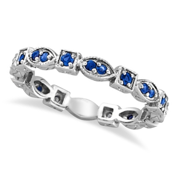 Blue Sapphire Eternity Stackable Ring Anniversary Band 14k White Gold (0.47ct)