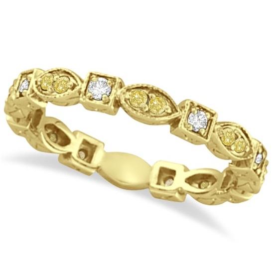 Yellow & White Diamond Eternity Antique Ring 14k Yellow Gold (0.50ct)