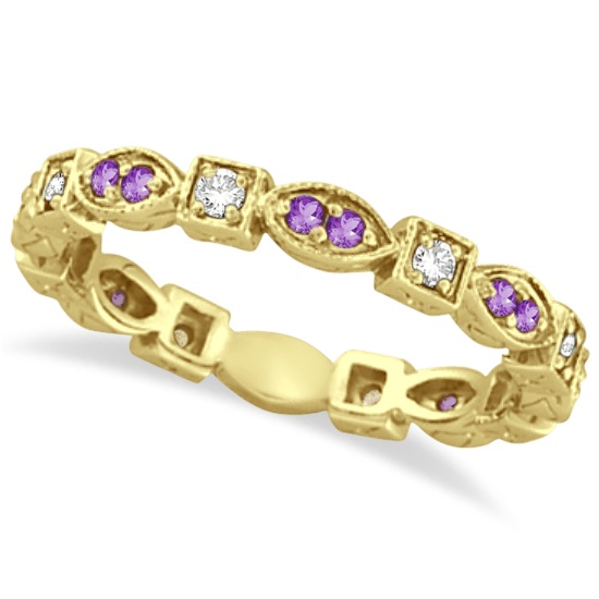 Amethyst & Diamond Eternity Anniversary Ring Band 14k Yellow Gold