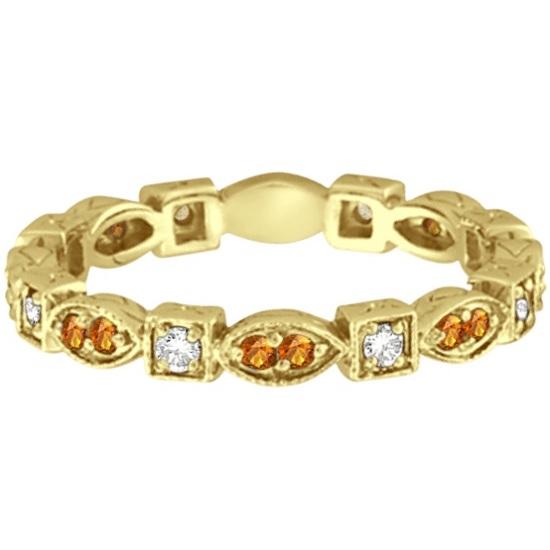 Citrine & Diamond Eternity Anniversary Ring Band 14K Yellow Gold