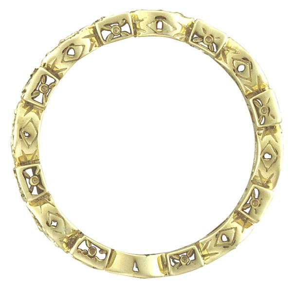 Emerald & Diamond Eternity Ring Anniversary Band 14k Yellow Gold