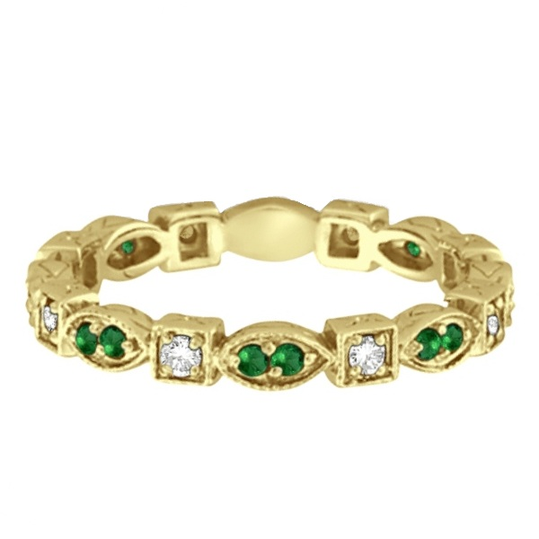 emerald eternity ring anniversary band 14k