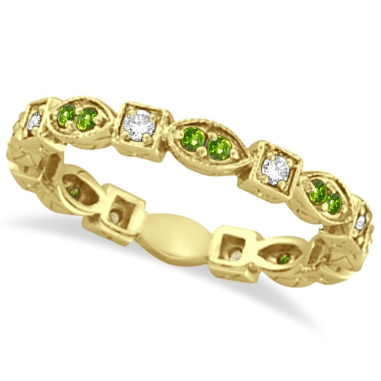 Peridot & Diamond Eternity Anniversary Ring Band 14K Yellow Gold