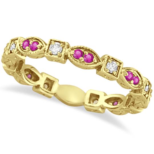 Pink Sapphire & Diamond Eternity Ring Band 14k Yellow Gold (0.47ct)