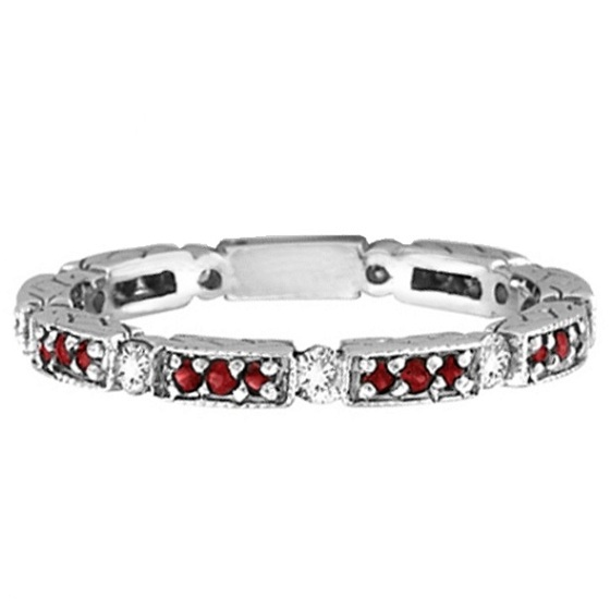 Garnet & Diamond Eternity Ring Band 14k White Gold (0.50ct)