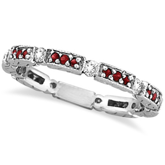 Eternity Diamond & Ruby Anniversary Band 14k White Gold (0.50ct)