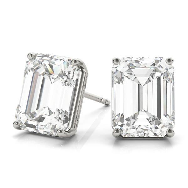 2.00ct Emerald-Cut Moissanite Stud Earrings 14kt White Gold (F-G, VVS1)