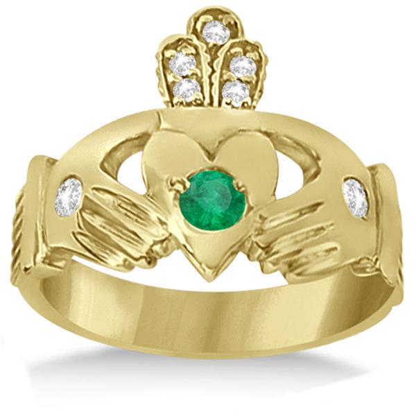 Diamond & Green Emerald Ring Claddagh Irish 14k Yellow Gold (0.35ct)