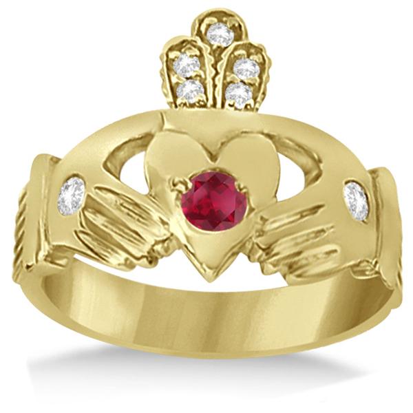 Irish Heart Crown Claddagh Ruby & Diamond Ring 14k Yellow Gold (0.35ct)