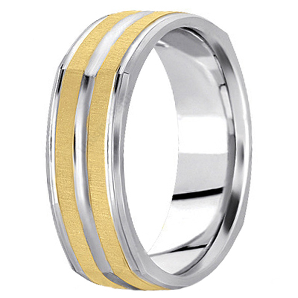 Square Two-Tone Wedding Band Carved Ring in 14k Gold (7mm)