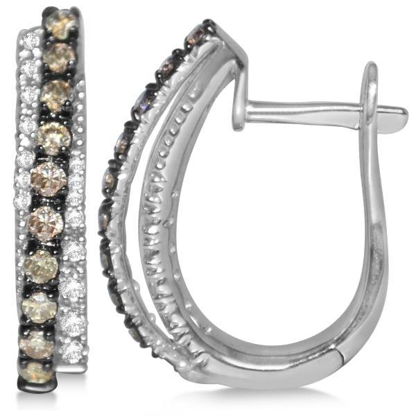 Diamond Huggie Earrings Black Rhodium in 14k White Gold (0.65ct)