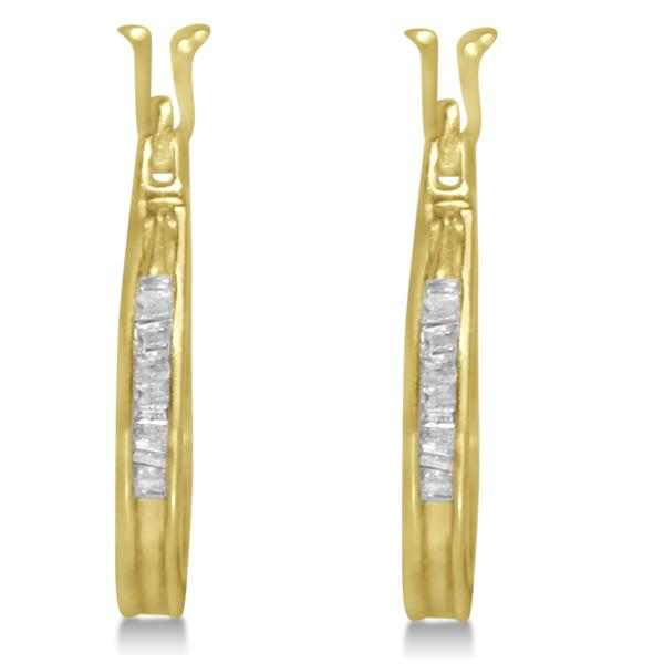 Diamond Baguette Huggie Earrings in 14k Yellow Gold (0.25ct)