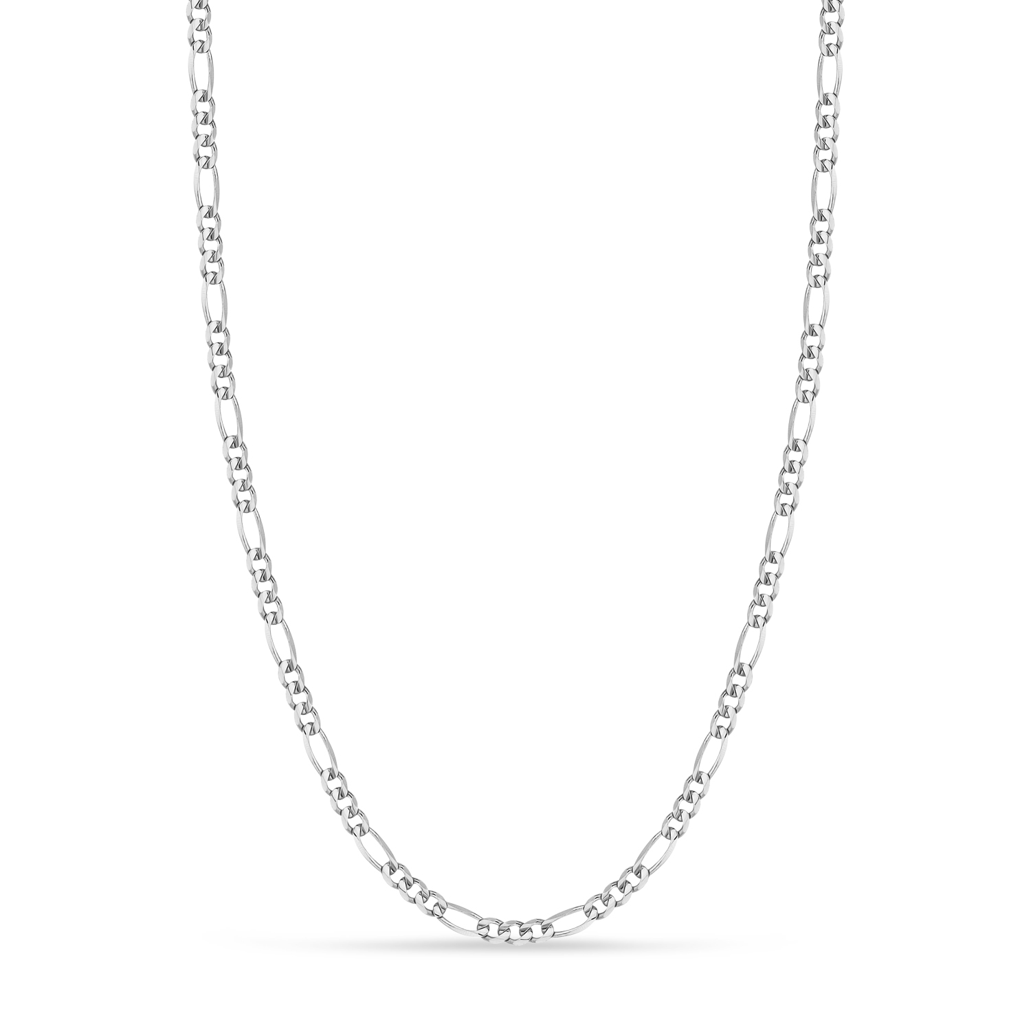 Figaro Chain Necklace With Lobster Lock 14k White Gold