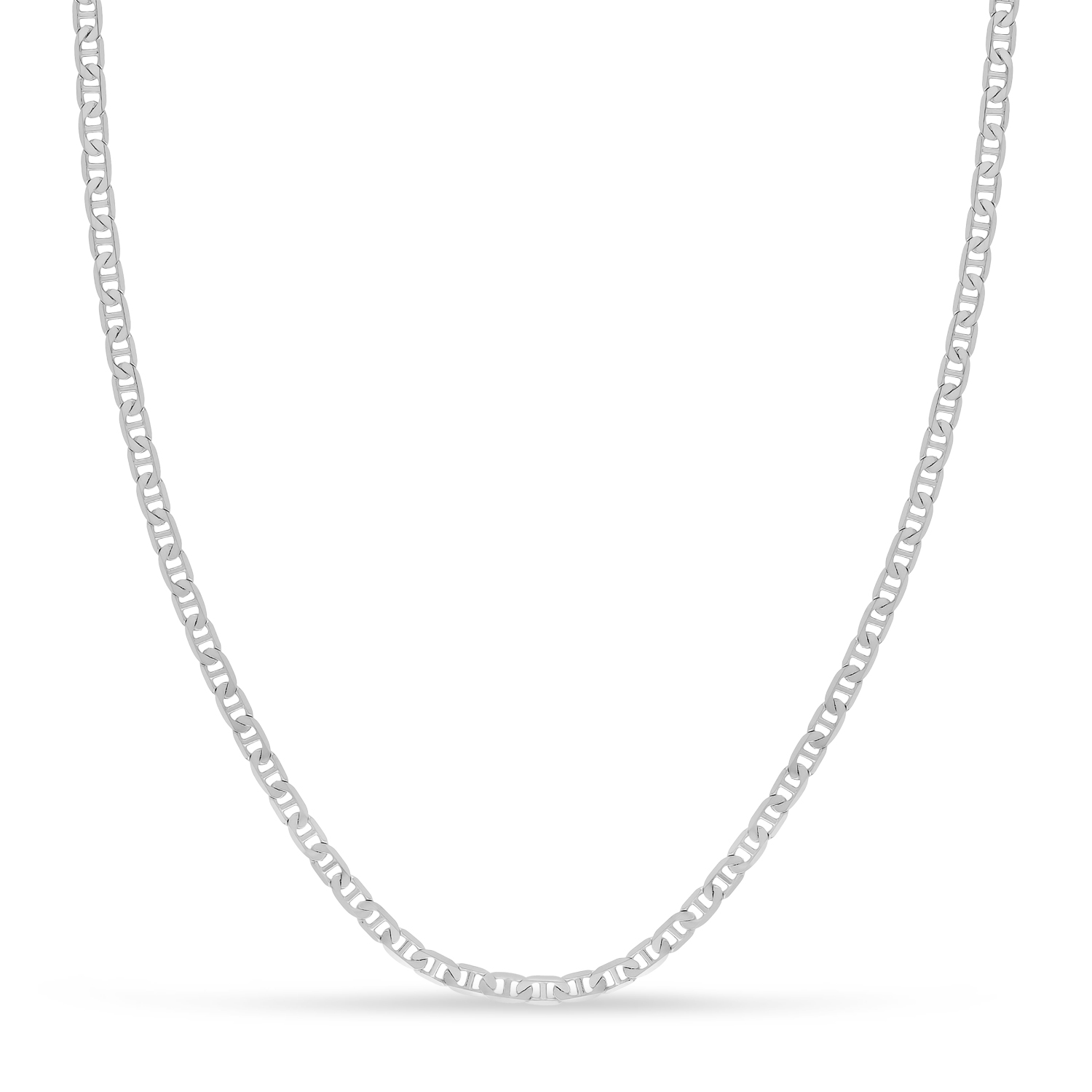 Mariner Chain Necklace With Lobster Lock 14k White Gold