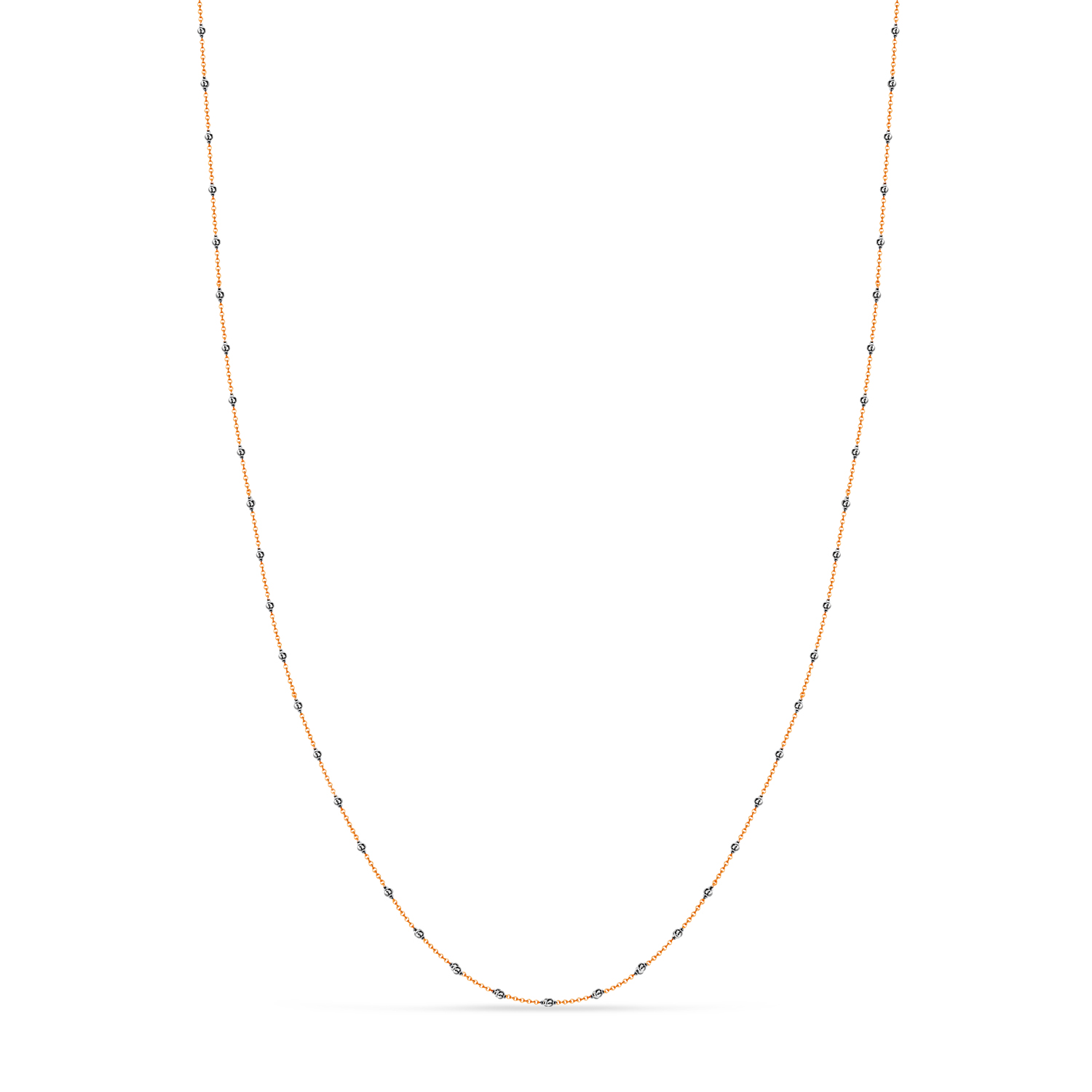Cable Chain Necklace With Beads 14k Rose Gold