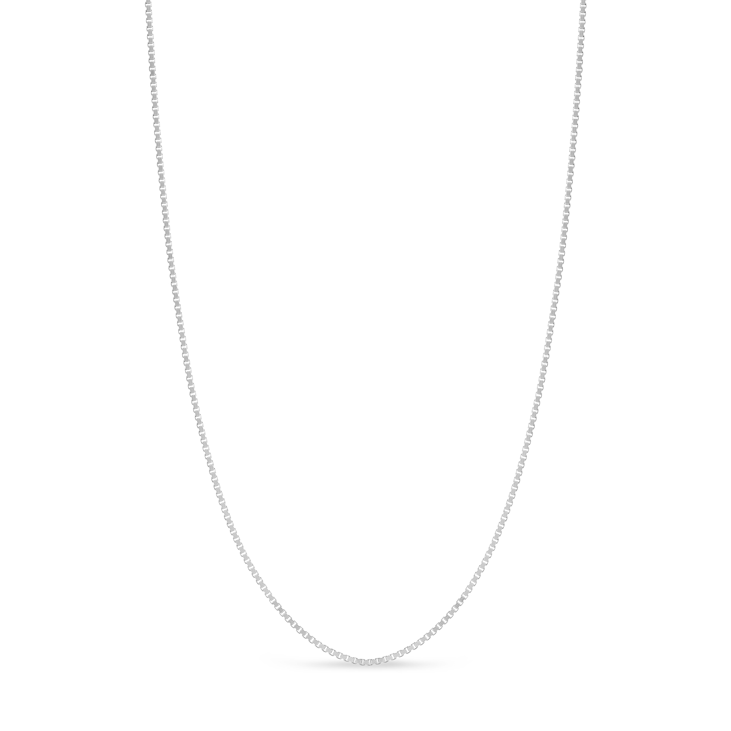 Large Box Chain Necklace With Lobster Lock 14k White Gold