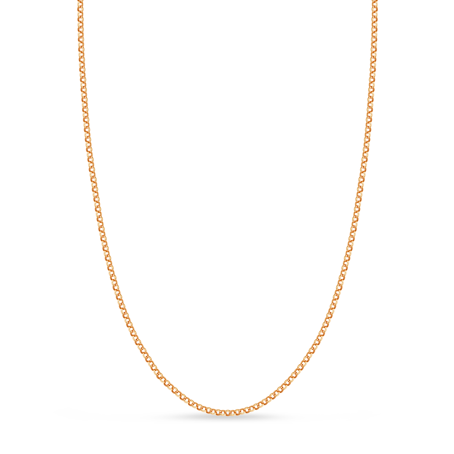 Hollow Rolo Chain Necklace 14k Rose Gold
