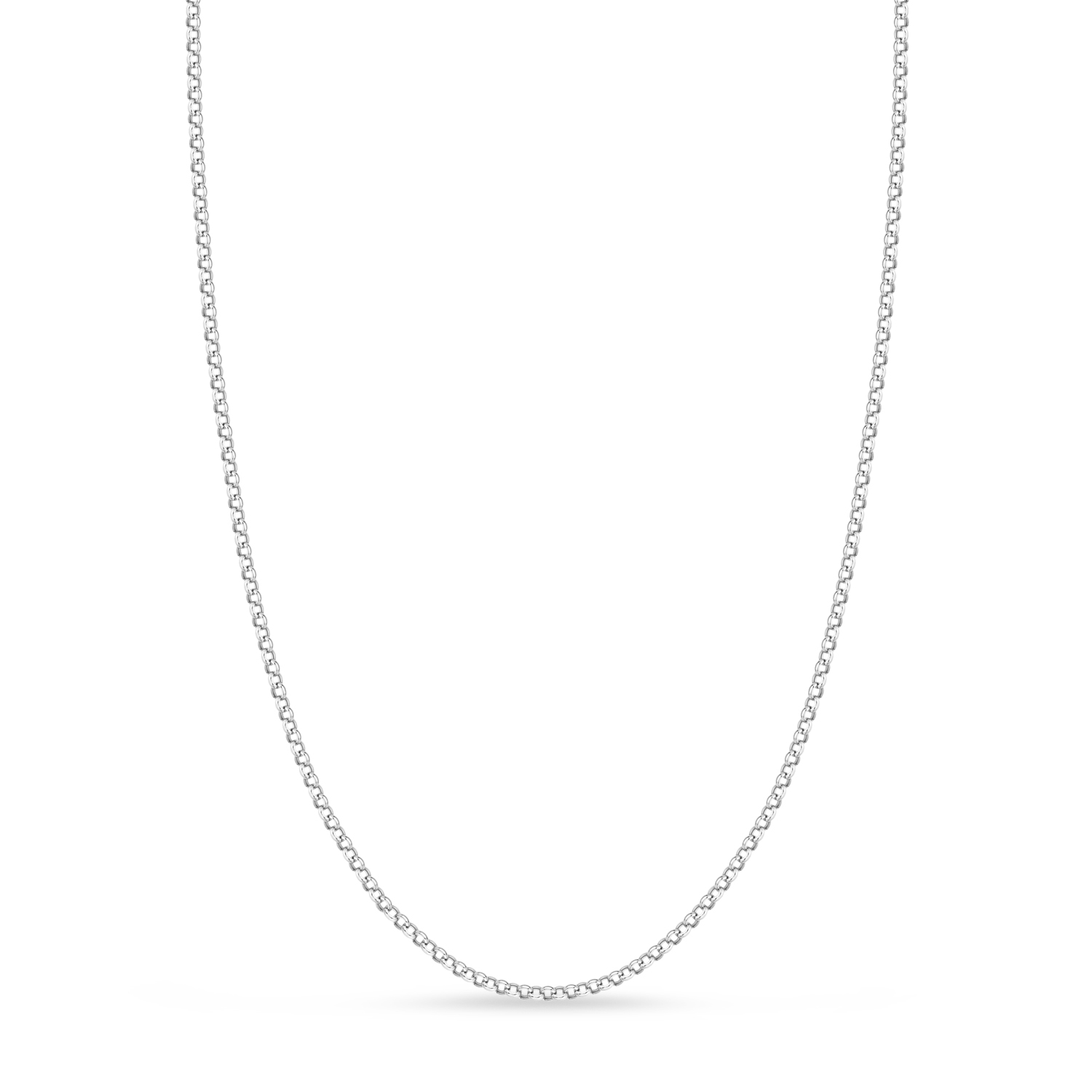 Hollow Rolo Chain Necklace 14k White Gold