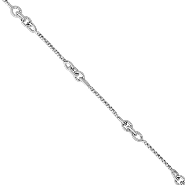 Alternating Cable Chain Link Ankle Bracelet 14k White Gold