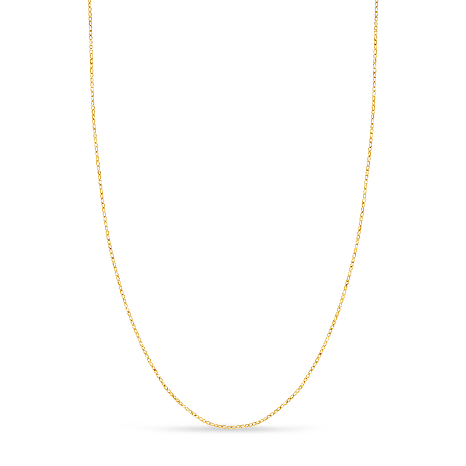 Designer Rolo Chain Necklace 14k Yellow Gold