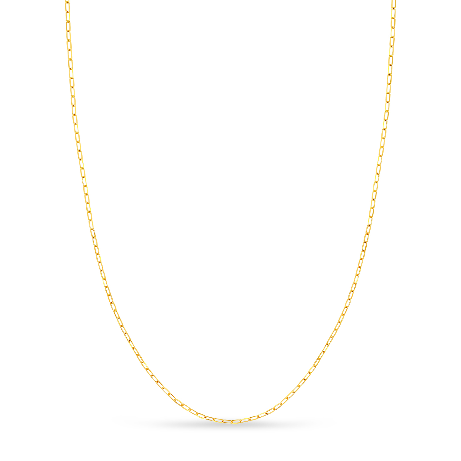 Paperclip Link Chain Necklace With Lobster Lock 14k Yellow Gold