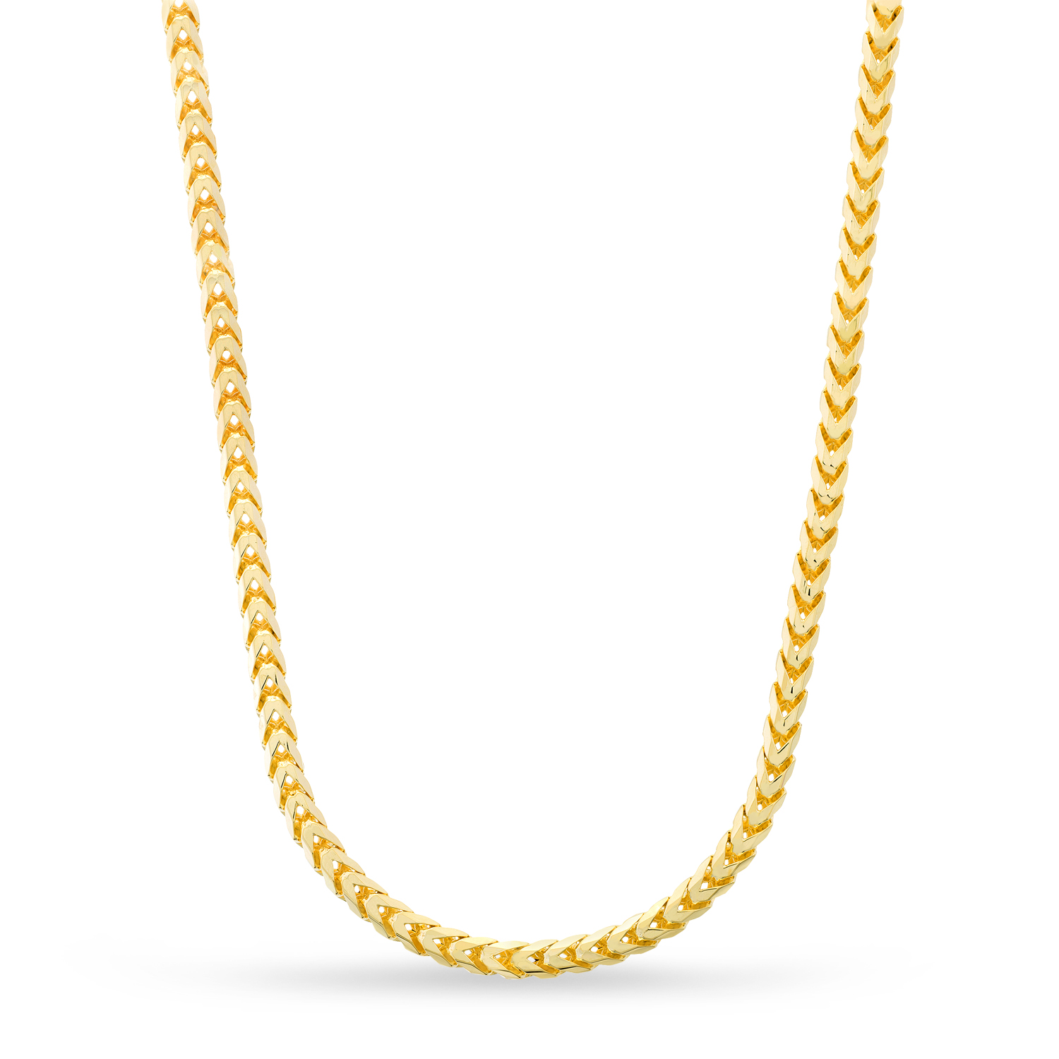 Large Franco Chain Necklace With Lobster Lock 14k Yellow Gold