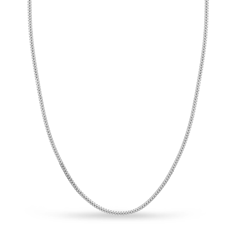Small Miami Cuban Chain Necklace 14k White Gold