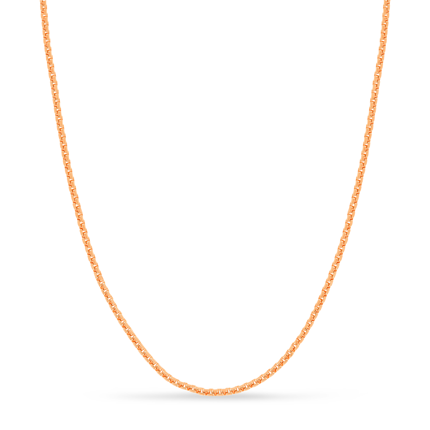 Large Round Box Chain Necklace 14k Rose Gold