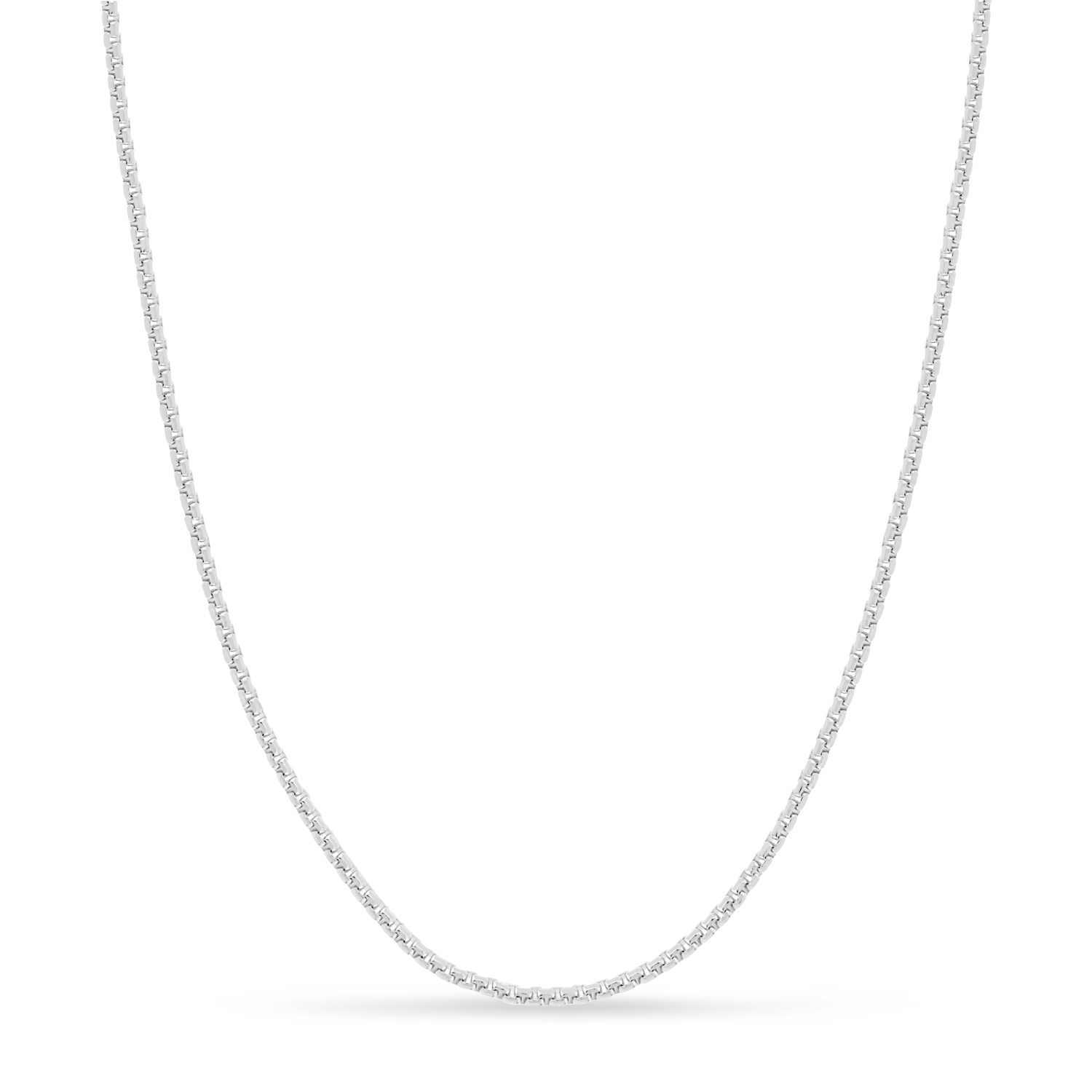 Large Round Box Chain Necklace 14k White Gold