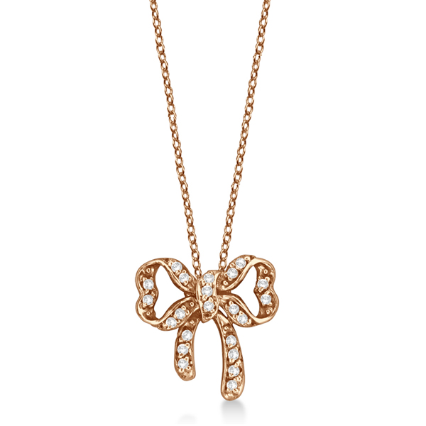 Bow Tie  Diamond Pendant Necklace 14kt Rose Gold (0.30ct)