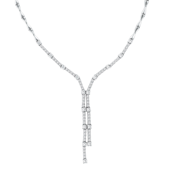 Diamond Tie Lariat Choker Necklace in 14K White Gold (2.25ct)