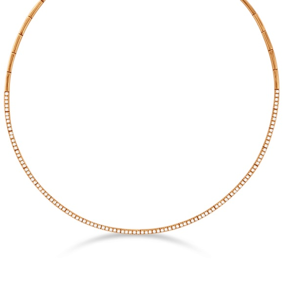 Diamond Choker Tennis Necklace in 14k Rose Gold (2.31ct)