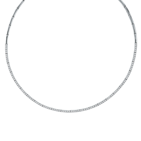 Diamond Tennis Choker Necklace in 14k White Gold (2.31ct)