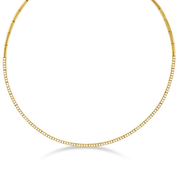 Diamond Choker Tennis Necklace in 14k Yellow Gold (2.31ct)