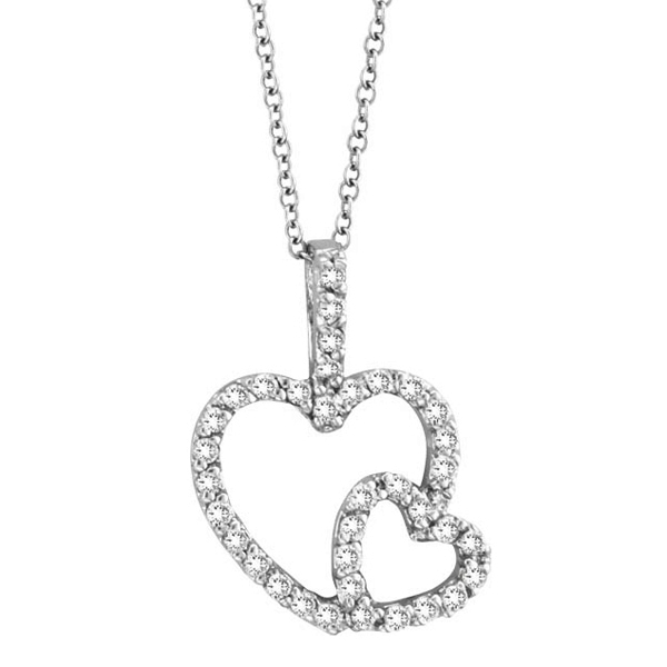 Double Heart Diamond Pendant Necklace in 14k White Gold (0.40 ctw)
