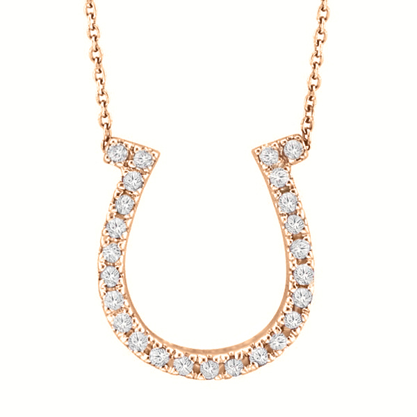 Diamond Horseshoe Pendant Necklace 14k Rose Gold (0.26ct)