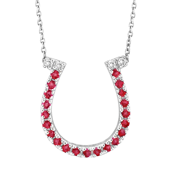 Ruby & Diamond Horseshoe Pendant Necklace 14k White Gold (0.25ct)