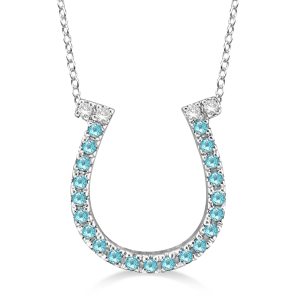 Aquamarine & Diamond Horseshoe Pendant 14k White Gold (0.25ct)
