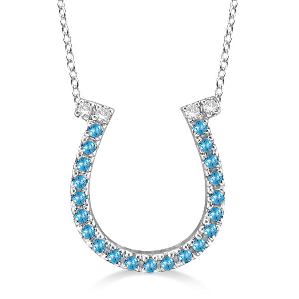 Blue Topaz & Diamond Horseshoe Pendant 14k White Gold (0.25ct)