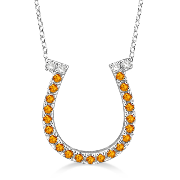 Citrine & Diamond Horseshoe Pendant Necklace 14k White Gold (0.25ct)