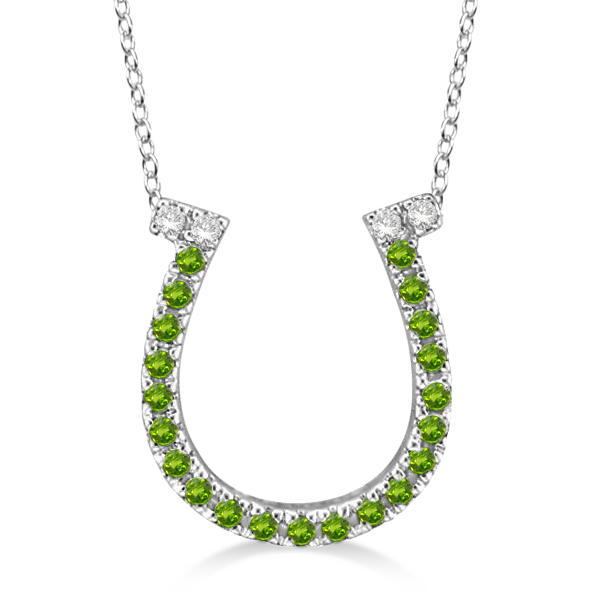 Peridot & Diamond Horseshoe Pendant Necklace 14k White Gold (0.25ct)