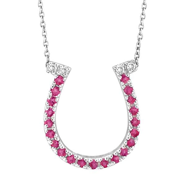 Pink Sapphire & Diamond Horseshoe Pendant Necklace 14k White Gold (0.25ct)