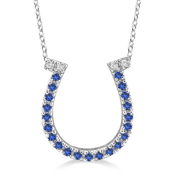 Sapphire & Diamond Horseshoe Pendant Necklace 14k White Gold (0.25ct)