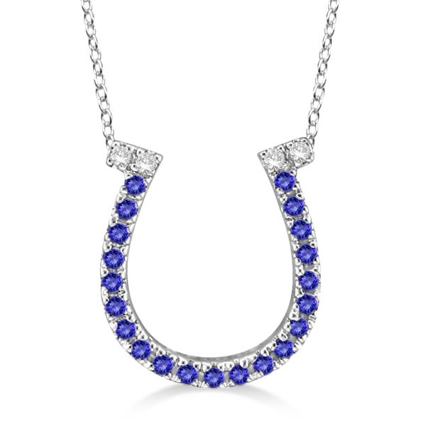 Tanzanite & Diamond Horseshoe Pendant Necklace 14k White Gold (0.25ct)