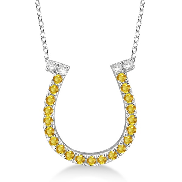 Yellow Sapphire & Diamond Horseshoe Pendant 14k White Gold (0.25ct)