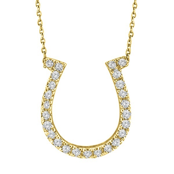 Diamond Horseshoe Pendant Necklace 14k Yellow Gold (0.26ct)