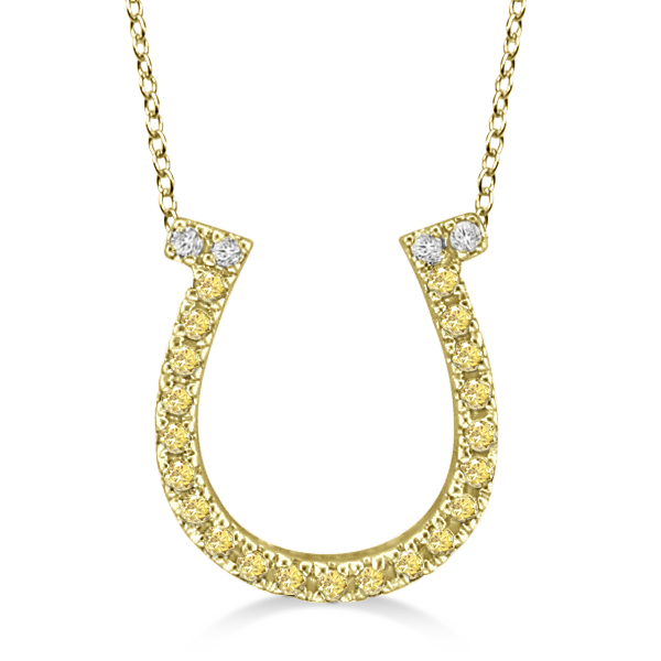 Fancy Yellow Canary Diamond Horseshoe Pendant Necklace 14k Yellow Gold