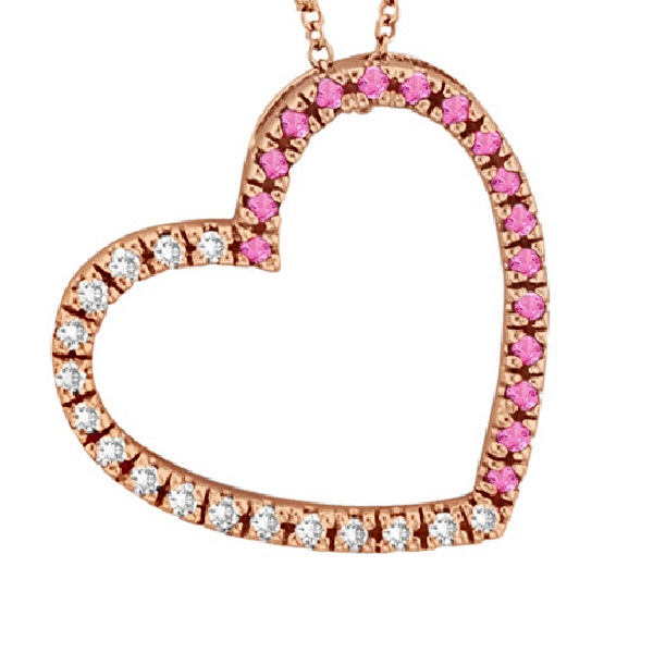 Diamond & Pink Sapphire Heart Pendant Necklace 14k Rose Gold (0.40ct)