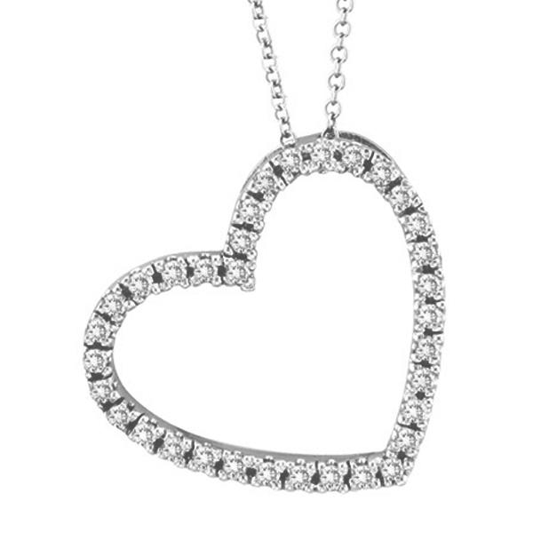 Diamond Open Heart Pendant Necklace 14k White (0.40ctw)